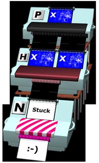 H machine inside X